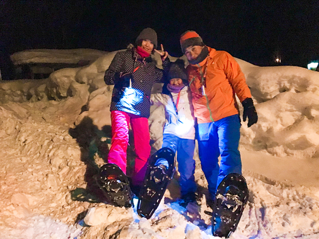 night snowshoeing