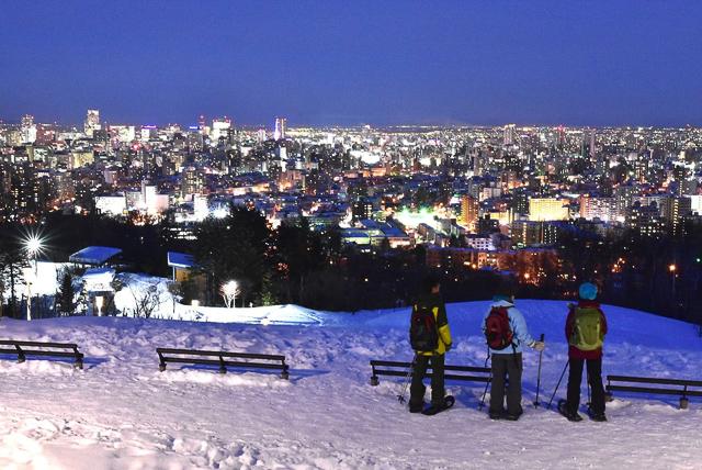 night snowshoeing in sapporo